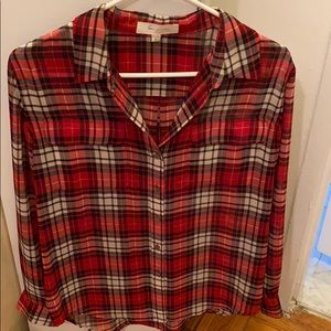 Vince Camuto red sheer plaid blouse size small